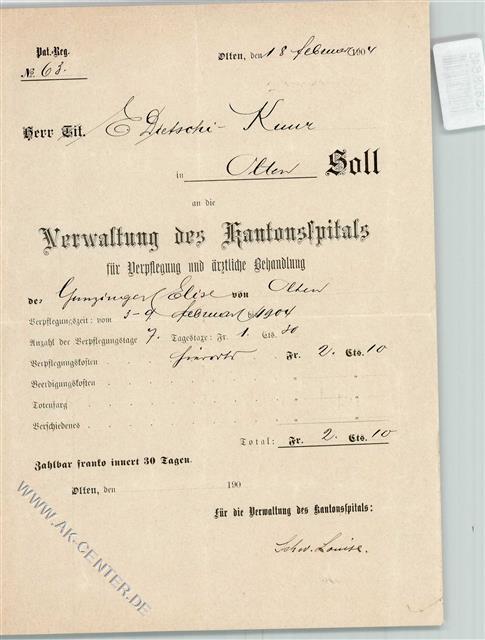 Olten Keine Ak Krankenhaus Rechnung Von 1904 Kantonsspital Olten
