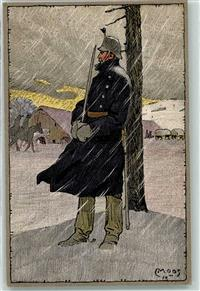 1914 bis 1915 Künstlerkarte Winter Occupation des Frontieres Soldat Uniform Gewehr sign.