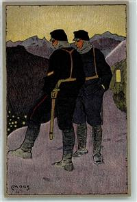 1914 bis 1915 Künstlerkarte Winter Occupation des Frontieres Soldat Uniform sign. Moos