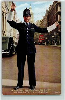 London 1954 Policeman on Duty i Ludgate Hill  Schiffspost Oostende-Dover  Prinz Albert