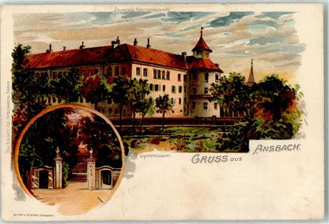 8800 Ansbach 1918 Lithographie Gymnasium  Eingangtor Ansbach Stadtkreis