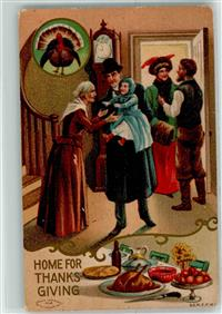 1910 Lithographie / Prägedruck Home for Thanks Giving , Familienfest  Thanksgiving