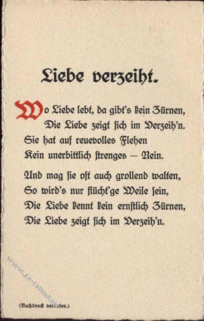 Gedicht Liebe Verzeihtfrau Lisbeth Klein Preissenkung