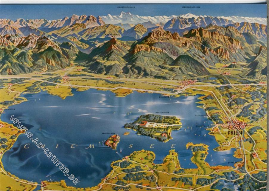 Chiemsee Karte.8210 Prien Prien Chiemsee Panorama Karte Berge Photo