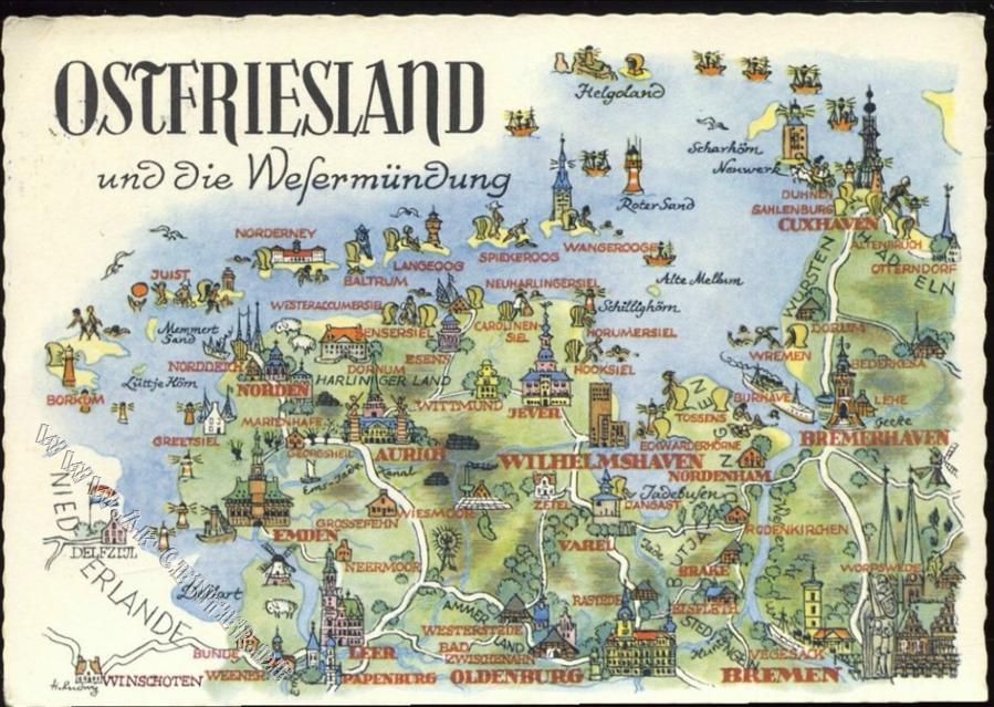 2982 Norderney Landkarte Ostfriesland Helmut Haarstick