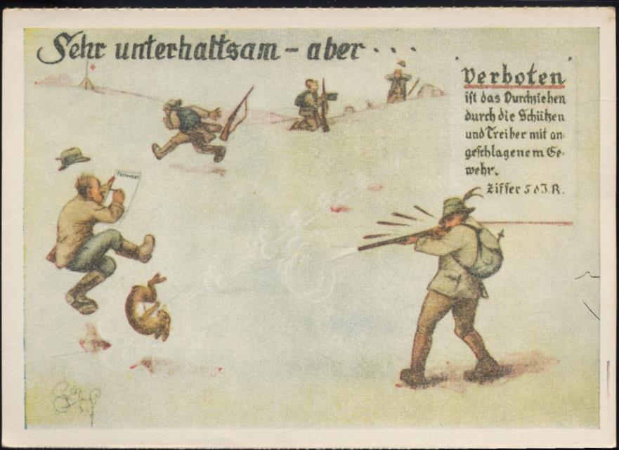 Jäger mit Gewehr, Spruch  Sehr unterhaltsam   aber
