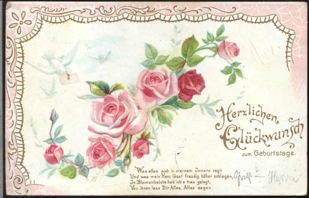 Herzlichen Gluckwunsch Zum Geburtstag Rosen Brieftaube