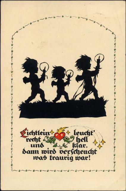 3 Elfen mit Kerzen, Spruch  Lichtlein leucht ,: Ansichtskarten