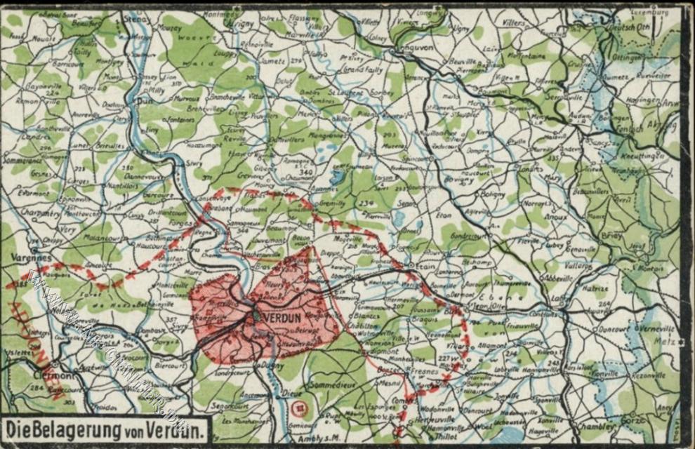 Verdun Karte Mit Frontverlaufen Der Schlacht 1916 Felix