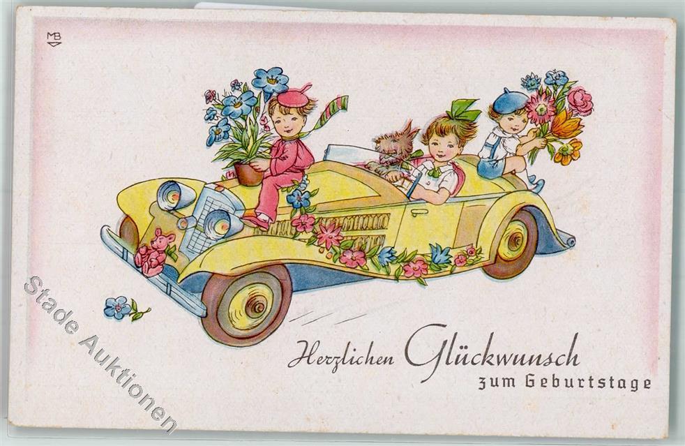 Geburtstag Kind Auto Hund Blumenstrauss Teddy Ansichtskarten Center