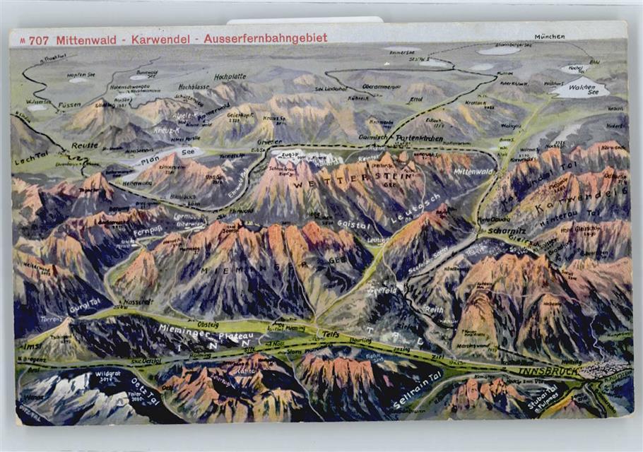 mittenwald karte 8102 Mittenwald Karte Gesamtansicht Berg Preissenkung
