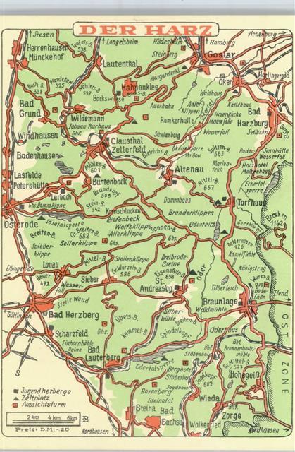 Landkarte Der Harz Ansichtskarten Center Onlineshop