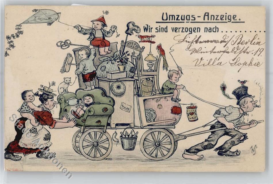 Kunstlerkarte Humor Umzug Lampion Preissenkung Ansichtskarten