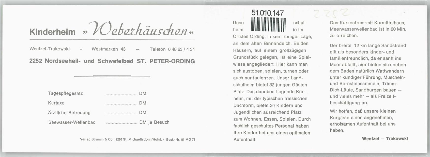 Sankt Peter Ording Karte.2252 Sankt Peter Ording Kinderheim Weberhäuschen Klapp Karte