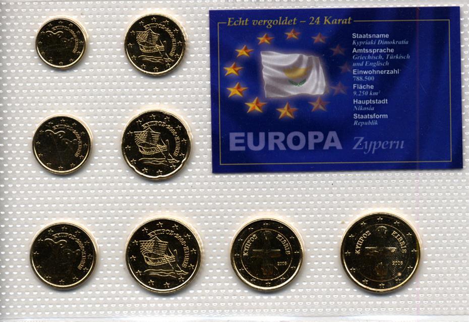 Vollständiges Euro Set Münzen Zypern 24 Karat Vergoldet