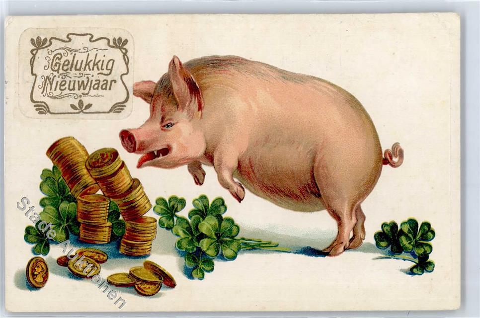 Geld Kleeblatt Neujahr Schwein Ansichtskarten Center Onlineshop