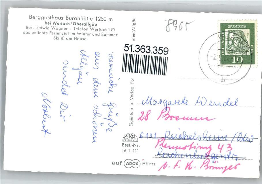 8965 Wertach Gasthaus Buronhutte Preissenkung Ansichtskarten Center