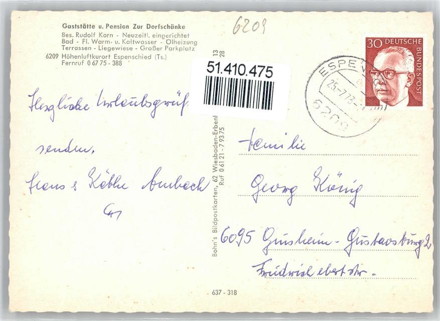 6223 Espenschied Gasthaus Pension Zur Dorfschänke Preissenkung ...