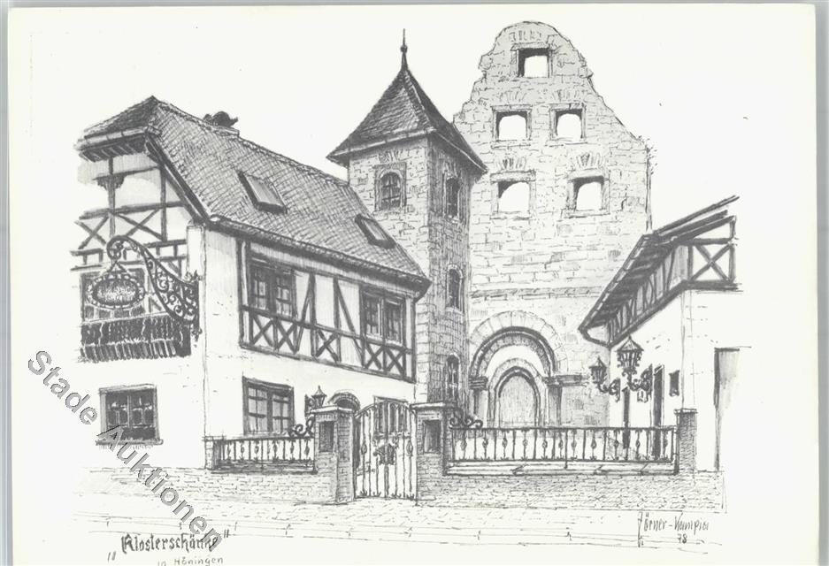 6719 Höningen Künstlerkarte Klosterschänke Gasthaus: Ansichtskarten ...