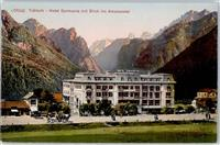 Toblach Lithographie Hotel Germania Blick ins Ampezzotal   Toblach / Dobbiaco