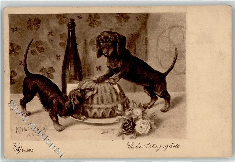 Kunstlerkarte Dackel Geburtstag Rose Ansichtskarten Center Onlineshop