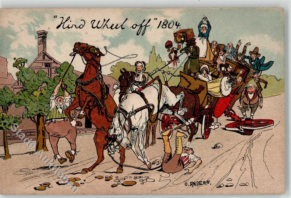 Kunstlerkarte Pferdegespann Umzug Unfall Serie Alt England Sign