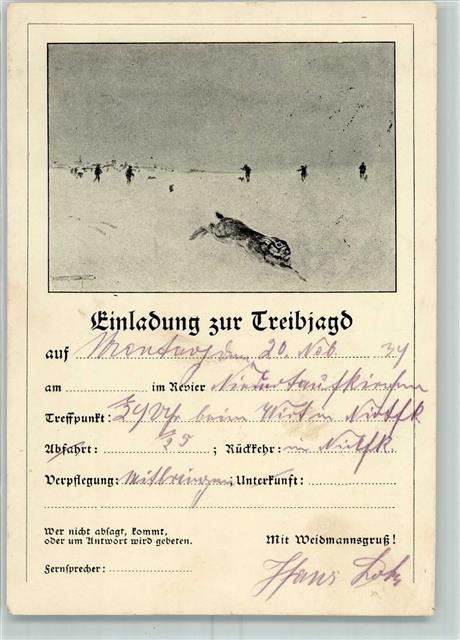 8267 niedertaufkirchen 1934 jagd einladung zur treibjagd, Einladung