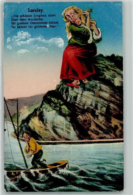 Rhein Boot Fels Frau Kamm Gedicht Loreley Ansichtskarten