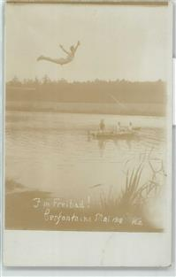 Cerfontaine 1918 Foto AK Schwimmbad  Avesnes-sur-Helpe