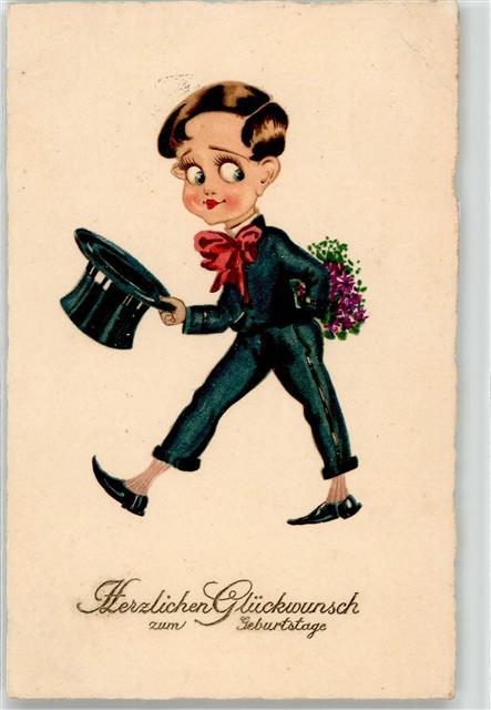1925 Geburtstag Mann Mit Zylinder Blumen Ansichtskarten Center
