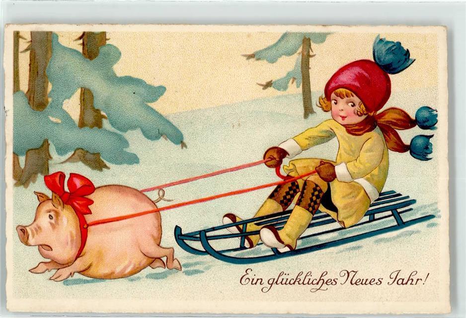 Künstlerkarte Kind Schlitten Neujahr Schwein Ansichtskarten Center