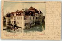 Bottmingen 1900 Lithographie Schloss