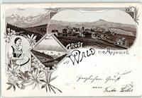 Wald AR 1898 Lithographie Tracht Kirche