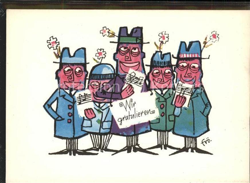 Geburtstag Kuenstlerkarte Wir Gratulieren Comic Geburtstag