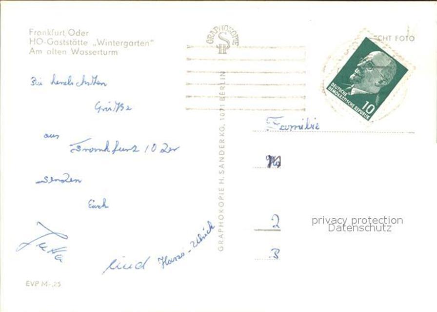 Frankfurt Oder Ho Gaststaette Wintergarten Am Alten