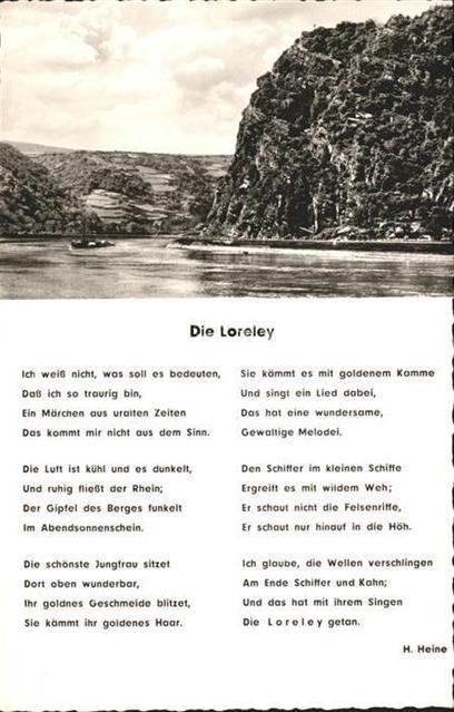 Heine Heinrich Die Loreley Gedicht Persoenlichkeiten