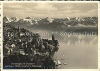 Hilterfingen Thunersee Panorama Thunersee mit Eiger Moench Jungfrau Blu