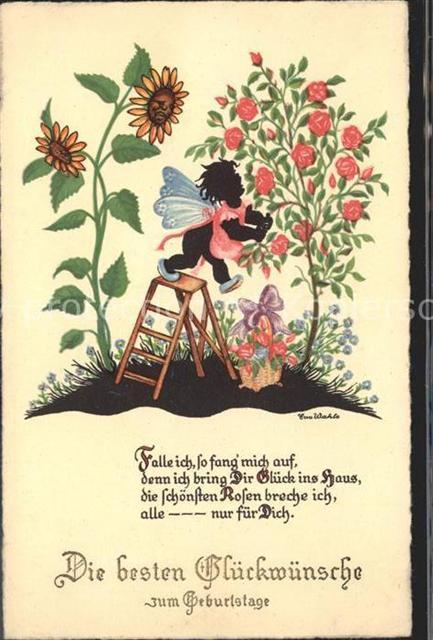 Geburtstag Gedicht Elfe Sonnenblumen Rosen Eva Wahle