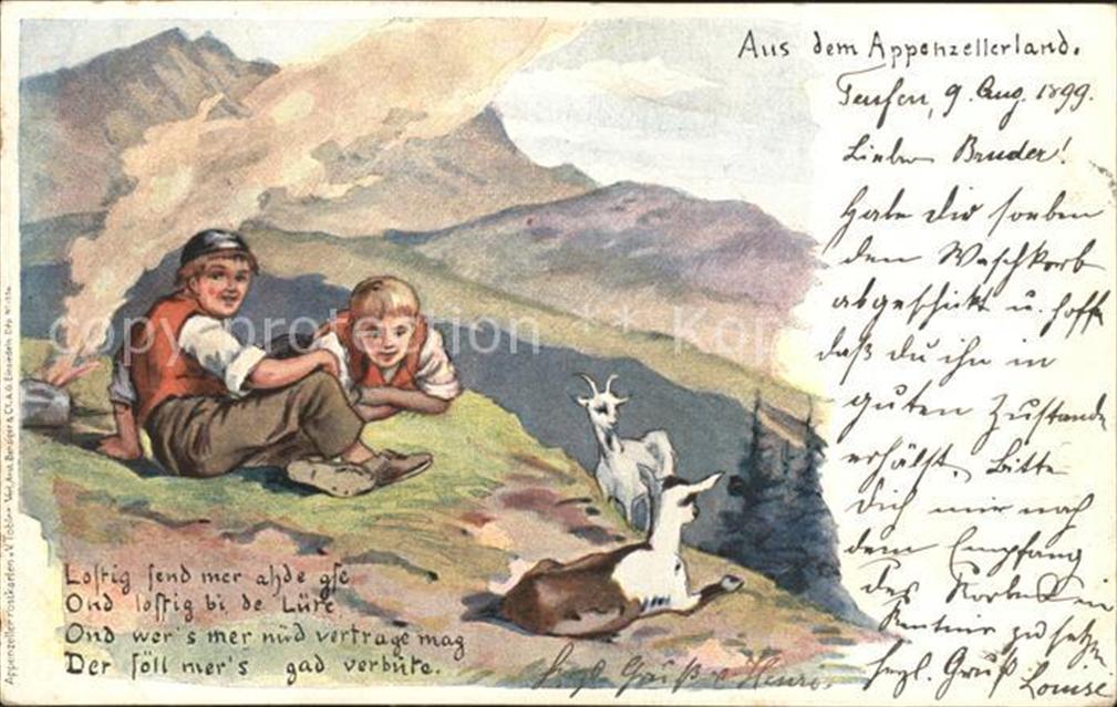 Tobler Viktor Vt Appenzellerland Kinder Berge Ziegen