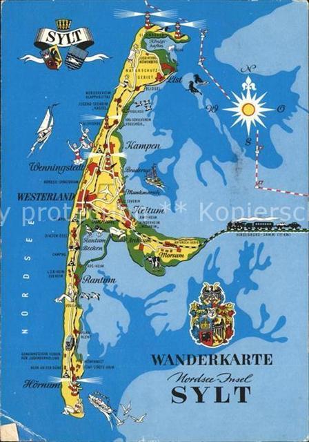 Karte Von Sylt.Sylt Landkarte Insel Sylt Ansichtskarten Center Onlineshop