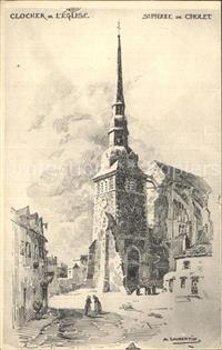 Cholet Eglise Saint Pierre Clocher Dessin Kuenstlerkarte Cholet