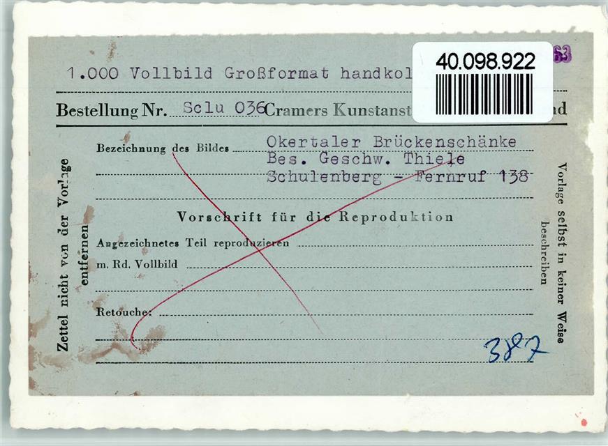 3396 Schulenberg KEINE AK Okertaler Brückenschänke Autos ...