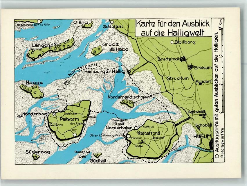 Pellworm Karte.2251 Pellworm Landkarte Halligen Ansichtskarten Center