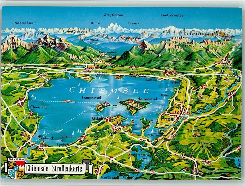 Chiemsee Karte.Landkarte Vom Chiemsee Kleve Landkarte