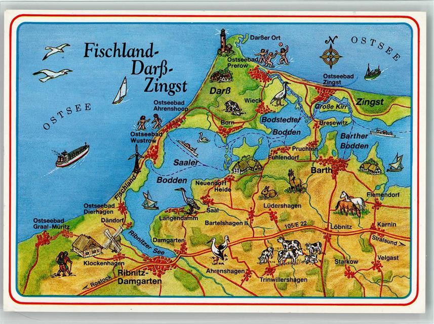 Fischland Darß Zingst Karte.Landkarte Fischland Darß Zingst Ansichtskarten Center Onlineshop
